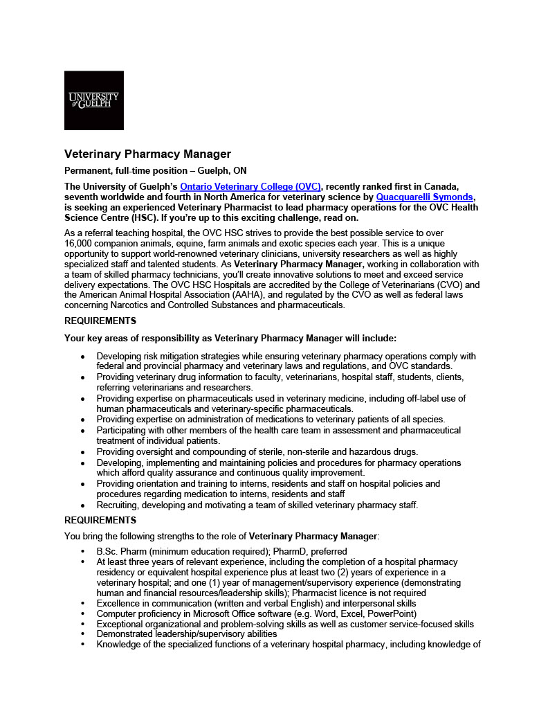 20201104-Job-Posting_University-Guelph_Veterinary-Pharmacy-Manager1024_1